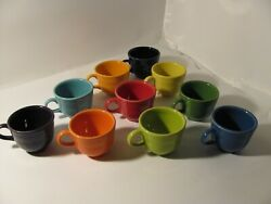 Lot Of 10 Different Colors Fiesta Ware Coffee Cups O Ring Mugs Multi Hls Homer