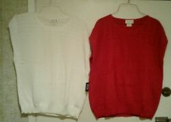 Two New Vtg. Indian Harbour By Sweaters Usa Red And White Sailing Vests 22w