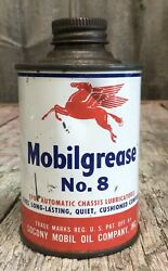 Vintage 7 Oz Mobil Oil Mobilgrease No 8 Tin Can Gas And Oil Peagasus Advertising