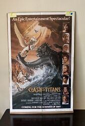 Classic Vintage 1981 Clash Of The Titans Movie Poster Size 41 X 27