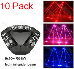 10x 9 Led10w Rgbw 4in1 Led Spider Beam Moving Head Night Disco Club Party Light
