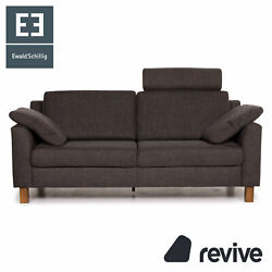 Ewald Schillig Flex Plus Fabric Sofa Anthracite Grey Two Seater Function Couch