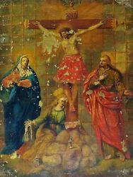 Jesus On Calvary, With Mary, S. John And Magdalena. Oil On Copper. Spain. Xviii