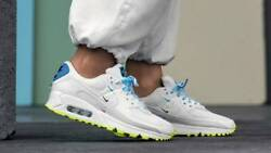 Nike Womenand039s Air Max 90 Ww World Wide Shoes White Blue Fury Volt Ck7069-100 New
