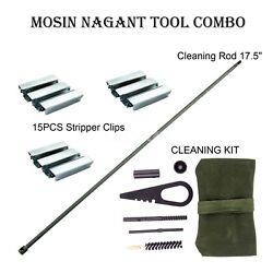 Mosin Nagant 17.5 Cleaning Rod And Cleaning Kit And 15pcs Stripper Clips