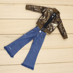 Shiny Jacket + Wide-leg Jeans Suit 2pc For12 Blythe Doll Factory Outfit 84