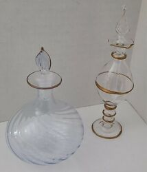Vtg Lot Group Egyptian Blown Glass Perfume Bottles / Hand Decorated / Free Ship