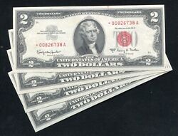 4 Consecutive 1963-a 2 Star Legal Tender United States Notes Uncirculated