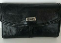 Women#x27;s Buxton Leather Wallet Charcoal Soft Cowhide Coin Zip Pocket $12.99