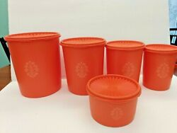 Vintage Tupperware 4 Nesting Canister Set Orange Containers + Extra Canister