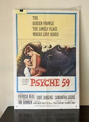 Classic Vintage 1964 Columbia Pictures Psyche 59 Movie Poster Size 41 X 27