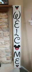 Welcome Walt Disney Wood Porch Sign Hand Painted Farmhouse Large Home Decor 48
