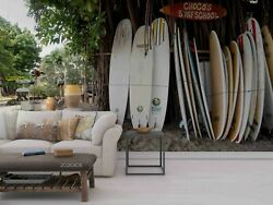 3d Surfboard Landscape Self-adhesive Removeable Wallpaper Wall Mural 975