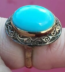 Flawless Persian Turquoise Vintage Filigree Size 4 18k Gold Antique Ring