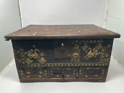 Antique Old Rosewood Hand Carved Brass Work Peacock Money Jewelry Box Nh5873