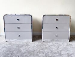 1980s Postmodern Grey Lacquer Laminate, Chrome Paneled Waterfall Dressers