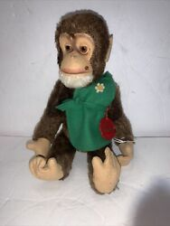 Schuco Tricky Yes/no Mohair Chimpanze Monkey W/ Original Id Tag And Apron 10