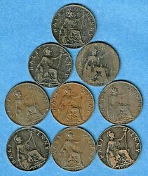 1902 To 1910 Edward Vll Half Penny 1/2d British Complete Set 9 Coins Cat 100++