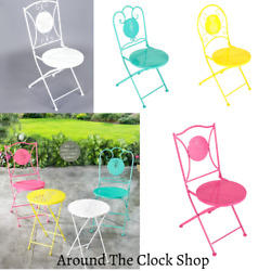 Folding Metal Chairs Porch Deck Coastal Beach Summer Tropical Design And Colors