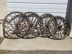 Rare Antique Western Wagon Wheels Set Of Four. Huge Great Cond 1880s 90s