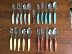 Washington Forge Stainless Flatware 1950andrsquos Mcm 21pc. Matches Red Wing Pottery