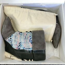 Isable Marant Women#x27;s Size 36 Kate Suede Leather Corduroy Wedge Boots Gray $1090 $299.99