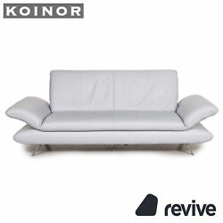 Koinor Rossini Leather Sofa Ice Blue Three-seater Function Couch