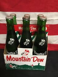 Rare Vintage Mountain Dew 1960s Six Pack With Carton Unopened Bottles With Names