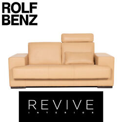 Rolf Benz Leather Sofa Beige Two Seater Function Couch
