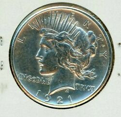 1921 Peace Dollar High Relief Bright White Luster Sharp Strike Very Mark Free