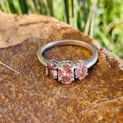 Sterling Silver 925 Fas Pink Gem 3 Stone Gemstone Ring Size 6.75 Weighs 2.8g