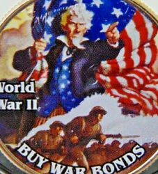 Ww22 Poster Coin Uncle Sam Buy War Bonds Colorized Kennedy Half Dollar Unc