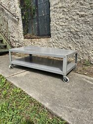 Vintage Mid Century Industrial Metal Coffee Table Living Room Cart Tv Console