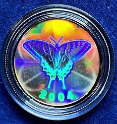 2004 Canadian 50 Cent Tiger Swallowtail Butterfly Sterling Silver Hologram Coin