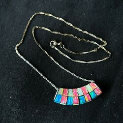 925 Sterling Silver Tinsel Serpentine Chain Necklace With Opal Accents Pendant