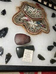 Antique Native American Jade Ache And Red Stone Axe Beaded Iroquois Ca1870 Purse