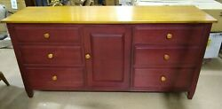 Ethan Allen Country Colors Cranberry And Wheat Triple Dresser