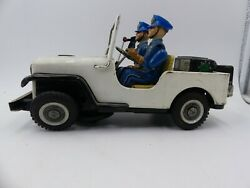60and039s T.n Nomura Police Dept Jeep Metal Tin Toy Vintage Japan Not Working