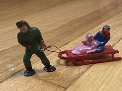 Vintage Lead Barclay Man Pulling Children On Sled B199 Great Paint
