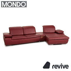 Mondo Clair Leather Corner Sofa Red Function Couch