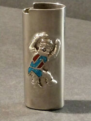 Vintage Turquoise And Coral Kachina Dancer Bic Type Lighter Cover Silver Case