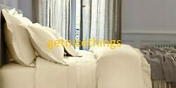 Yves Delorme Triomphe Honey Gold Queen Duvet Cover Egyptian Cotton Sateen New