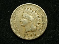 Blow Out Sale Vf 1894 Indian Head Cent Penny W/ Diamonds And Full Liberty 91