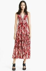 Beautiful New Jean Paul Gaultier Red Floral Mesh Maxi Dress