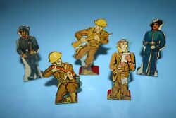 Early Antique Lot 5 1930s Marx Tin Litho Ww1 Soldiers Flatsies Targets