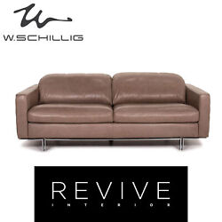 Willi Schillig Leather Sofa Grey Beige Two Seater Couch 15365