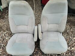 1996 Ford Econoline Van Front Seats Gray Cloth Manual Bases Included