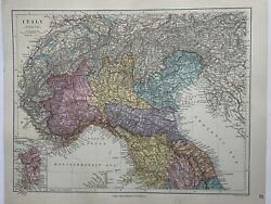 1882 North Italy Hand Coloured Antique Map From Stanford's London Atlas