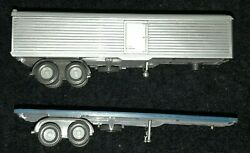Two 2 Used Wiking Ho Scale 187 Trailers Flatbed And Box Van Trailer No Boxes