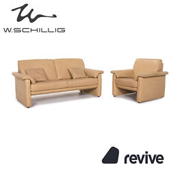 Willi Schillig Lucca Leather Sofa Set Beige 1x Two Seater 1x Armchair 15514